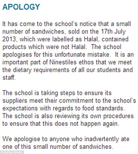 Sle Apology Letter To For Talking In Class School Principal Apologises After Muslim Pupils Were Accidentally Fed Halal Chicken Sandwiches