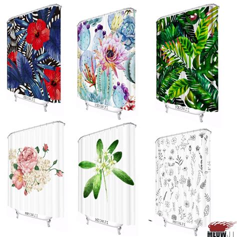 Custom Flowers Pattern 1 fresh flower pattern luxuriant plants custom shower curtain bathroom decor various