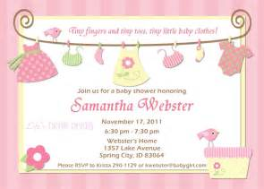 Baby shower invitations for girl baby clothes pink and yellow