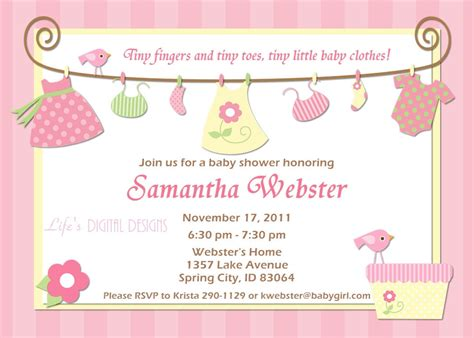 baby shower invitations for baby clothes pink and yellow