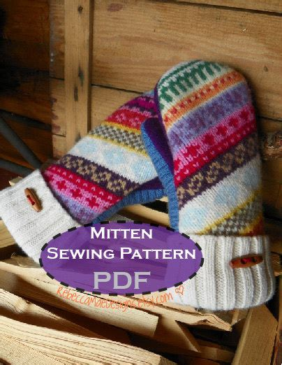 pattern sewing mittens pdf mitten pattern sewing diy pattern tutorial for upcycled