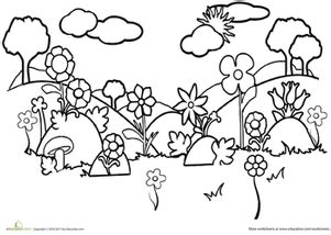 coloring pages field of flowers field worksheet education