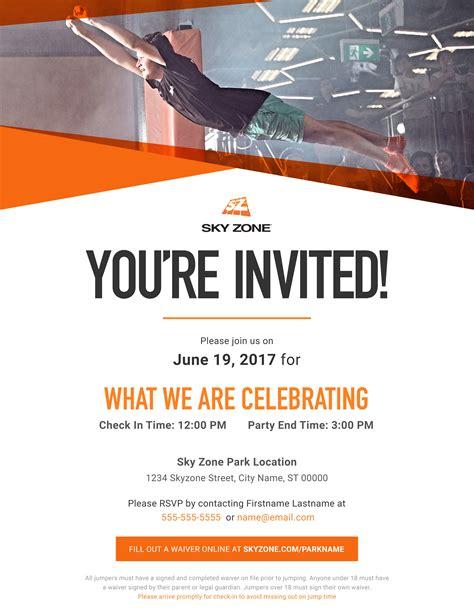 printable sky zone birthday invitations sky zone jackson tn troline park digital invitation