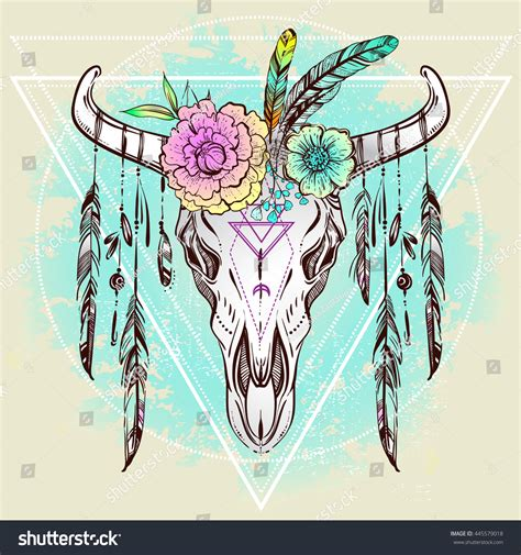 india doodle chs boho chic ethnic american bull stock vector