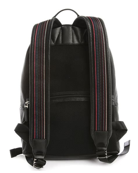 backpack with leather straps paul smith grained leather backpack with striped straps in black for lyst