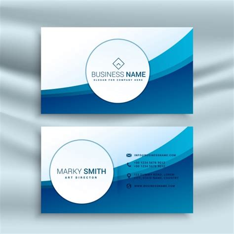 Blue Business Card Template Free by Business Card Template With Blue Abstract Wave Vector