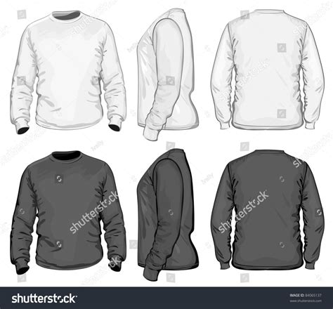 Kaos Lengan Panjang Hiphop vector mens tshirt design template front stock vector
