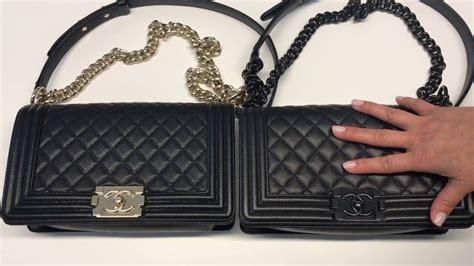 chanel chevron vs caviar boy bag comparisons warning the manhandling of the bag may horrify