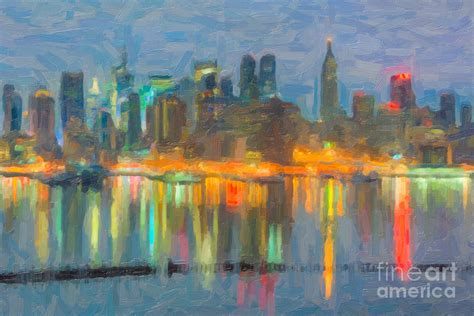 Duvet New York New York City Skyline In Oil Photograph By Clarence Holmes