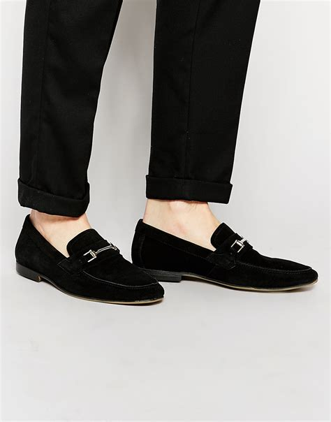 asos mens loafers asos loafers in black suede with snaffle in black lyst