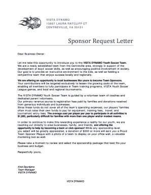 Sle Sponsorship Request Letter For Youth Sports Team Sponsorship Request Letter For Soccer Team Fill Printable Fillable Blank Pdffiller