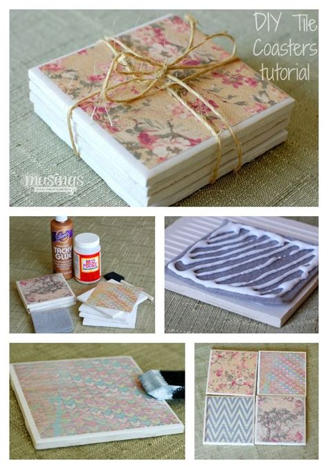 How To Make Coasters Out Of Tiles And Scrapbook Paper - diy tile coasters check out how easy and and cheap