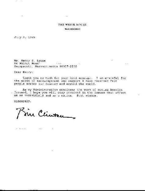 thank you letter after to vice president president clinton s thank you letter
