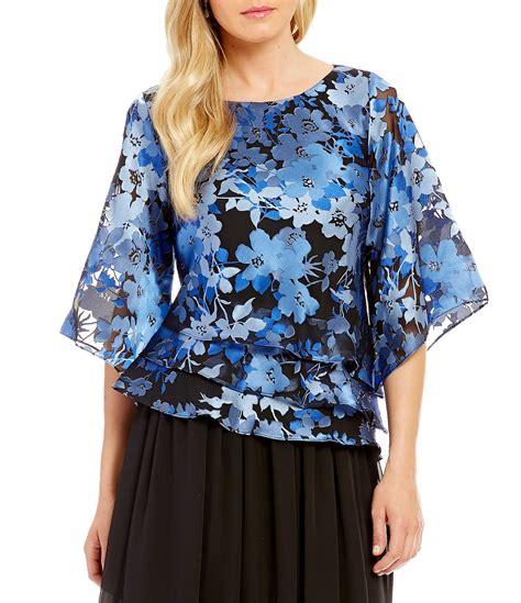 Blouse Floral Blue Preloved alex evenings asymmetrical tiered floral blouse dillards