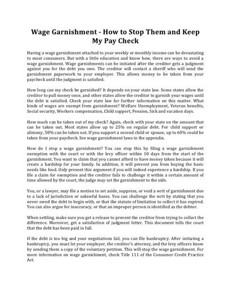 Stop Release Letter Definition Wage Garnishment How To Stop Them And Keep My Pay Check