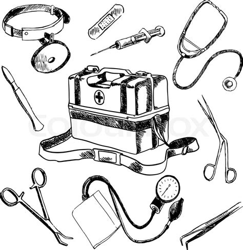 coloring page doctor tools doctor medical case laboratory accessories sketch icons