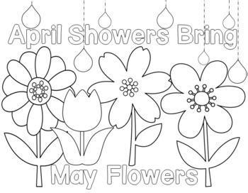 coloring pages may flowers students can color in the spring flowers and the saying
