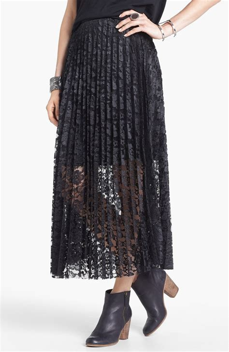 free knife pleat lace maxi skirt in black lyst