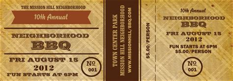 sle ticket template for events bbq vintage event ticket
