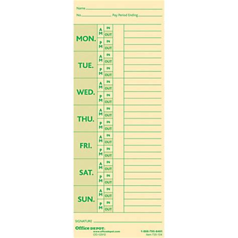 time card template with deductions office depot brand time cards with deductions weekly