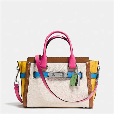 Coach Swagger Rainbow 33 coach swagger 27 carryall in rainbow colorblock leather 495 bags ux ui designer