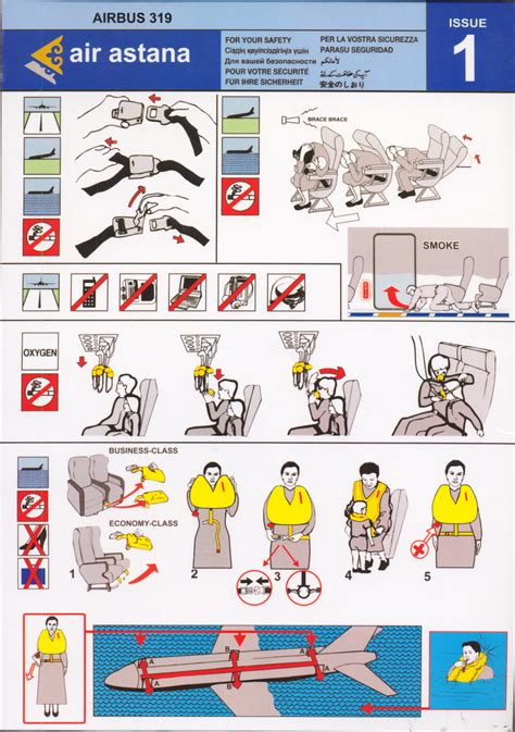 Collection Of Airline Safety Cards by Safety Card Air Astana Airbus A319 1