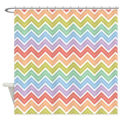 cute chevron pattern cute rainbow chevron pattern 3 shower curtain by