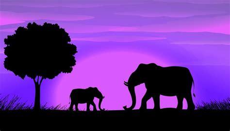 silhouette elephants   vector art stock