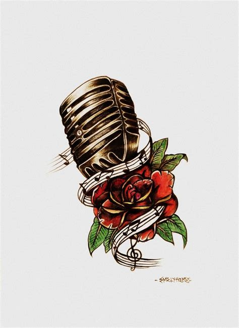 rose and microphone tattoo design by eholm3s on deviantart