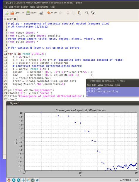 Spectral Methods In Matlab python translations of the trefethen spectral methods codes