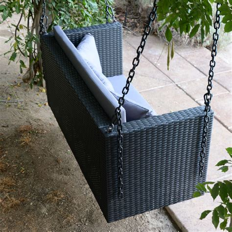 Patio Swing Hanger Black 57 5 Quot Patio Porch Swing Chair Resin Wicker Tree