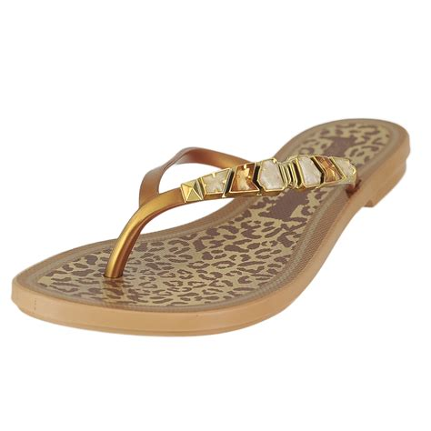 grendene sandals grendene tho gold womens flip flops size 8m ebay