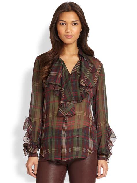 30753 Chiffon Blouse Green ralph blue label farina silk chiffon blouse in green plaid lyst
