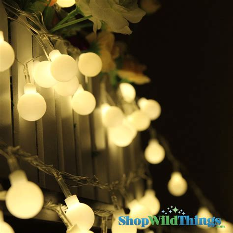 Warm White Large Ball Led String Lights 50 Bulb Strand Led Warm White String Lights