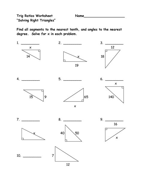 Trigonometric Ratios Worksheet Answers by 12 Best Images Of Right Triangle Trigonometry Worksheet