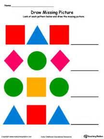 colored shapes kindergarten patterns printable worksheets