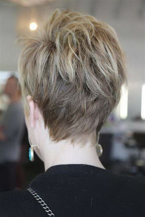 photos of the back of a haircut with a w neckline back view of short pixie hairstyles