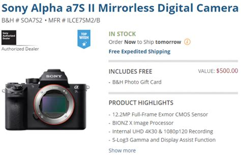 Sony Style Gift Card - mirrorless deal