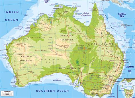 physical map of large detailed physical map of australia australia large