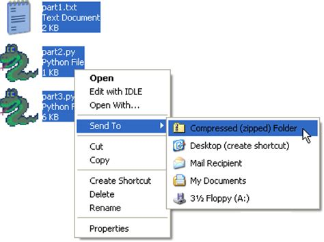 creating a zip file with windows xp