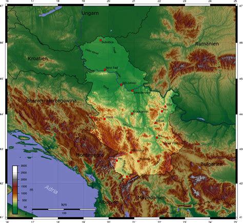 landkarte serbien topographische karte weltkarte