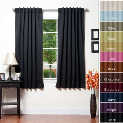 black thermal curtains hot deals solid thermal insulated blackout curtain 63 quot l 1