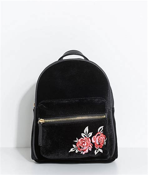 Velvet Mini Backpack embroidered black velvet mini backpack