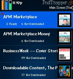 podtrapper the podcast manager for blackberry and