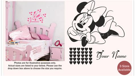 minnie mouse wall sticker minnie mouse wall sticker decal with personalised name for