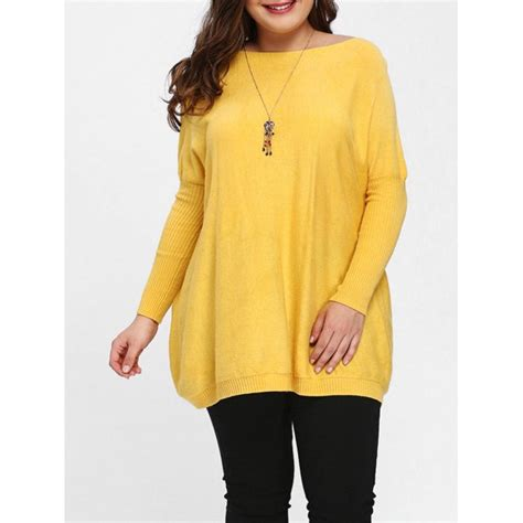 Deal Dolman Sleeve Sweater 87 by Plus Size Dolman Sleeve Tunic Sweater In Yellow One Size