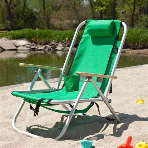 high back beach chair reclining green hi back reclining sling seat beach chair with