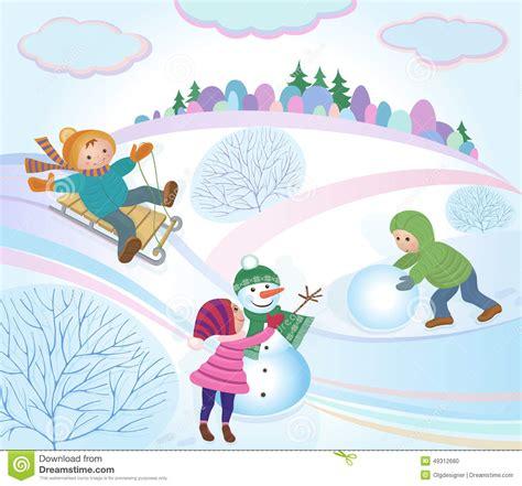 clipart inverno bambini giocano e paesaggio di inverno illustrazione