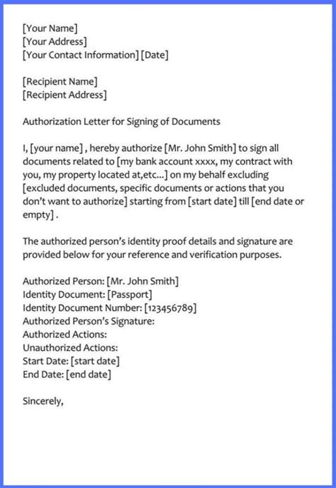 sample authorization letter signing documents