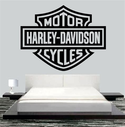 harley davidson wall stickers pin harley davidson vinyl wall sticker stencil mural decal on